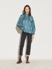 All-Over Print Top : Tops color Petrol blue / Orange
