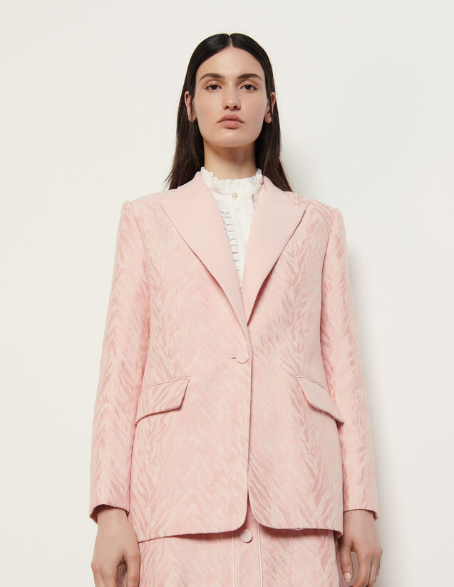 Tailored Jacket In Striped Jacquard : Blazer & Jacket color Pink