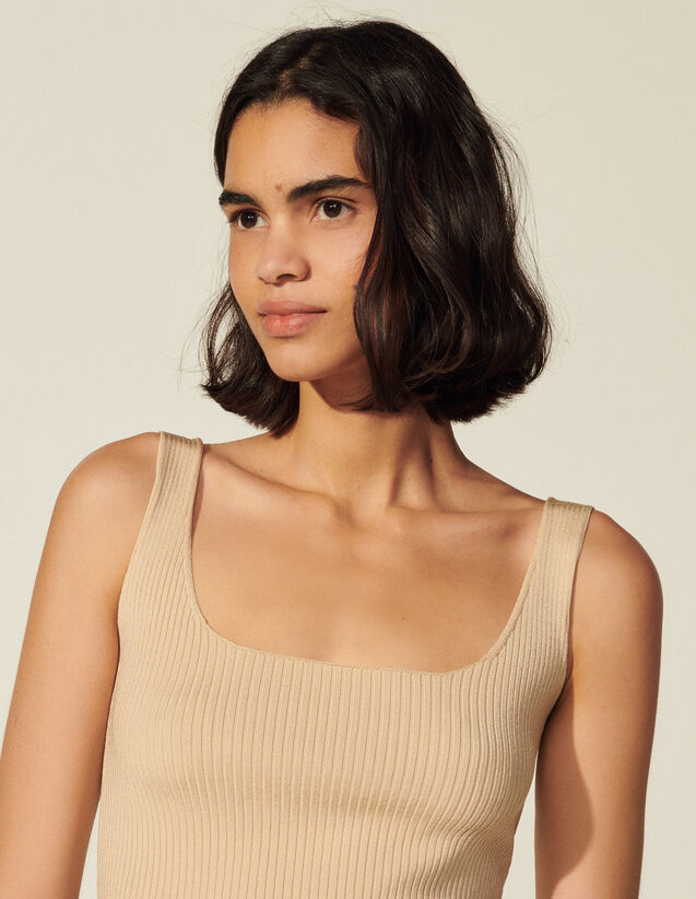 Ribbed Knit Cropped Vest Top : Tops color Terracotta
