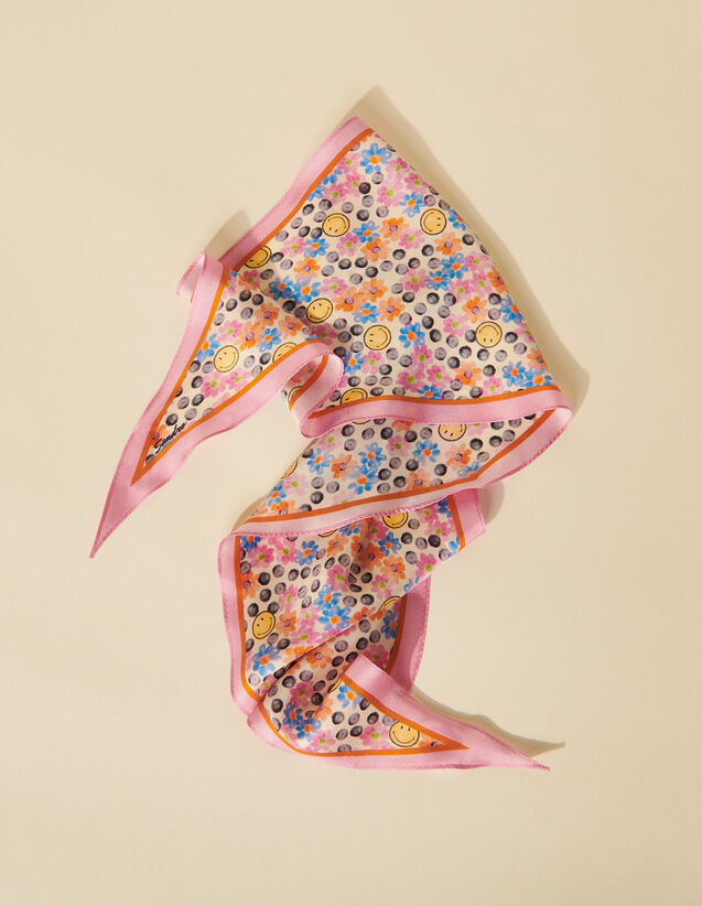Smiley® Silk Scarf With Print : Other accessories color Pink