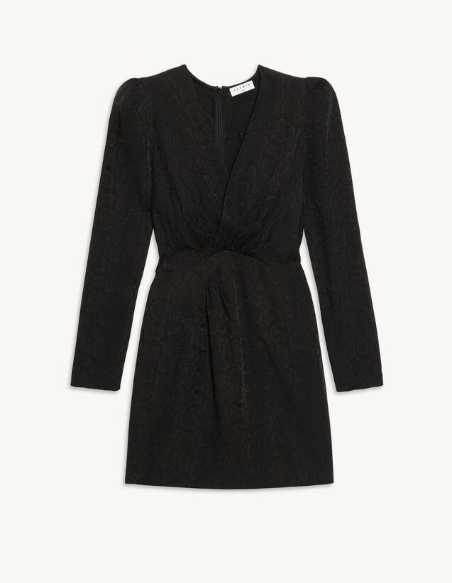 Short Python-Effect Jacquard Dress : Dresses color Black