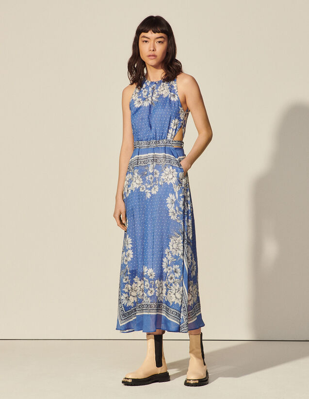 Long Sleeveless Print Dress : Dresses color Blue