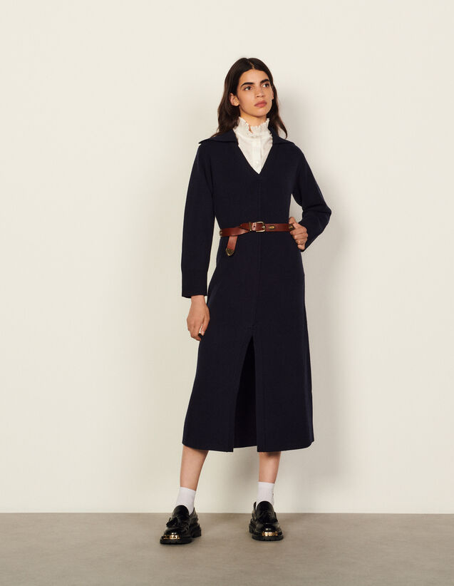 Long Dress With Tunic Collar : Dresses color Navy Blue