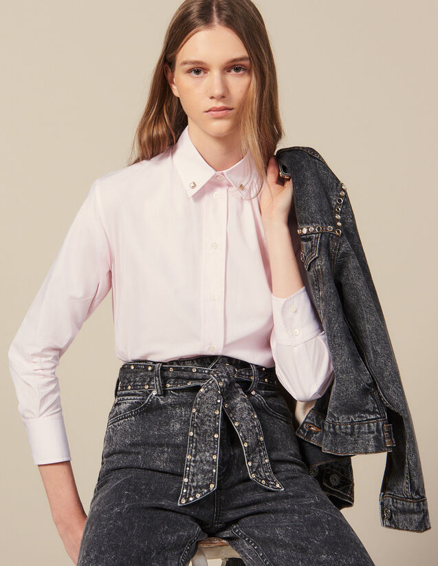 Shirt With Jewelled Buttons At Collar : Shirts color Pink