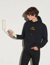 Hoodie With Lettering : Sweatshirts color Black