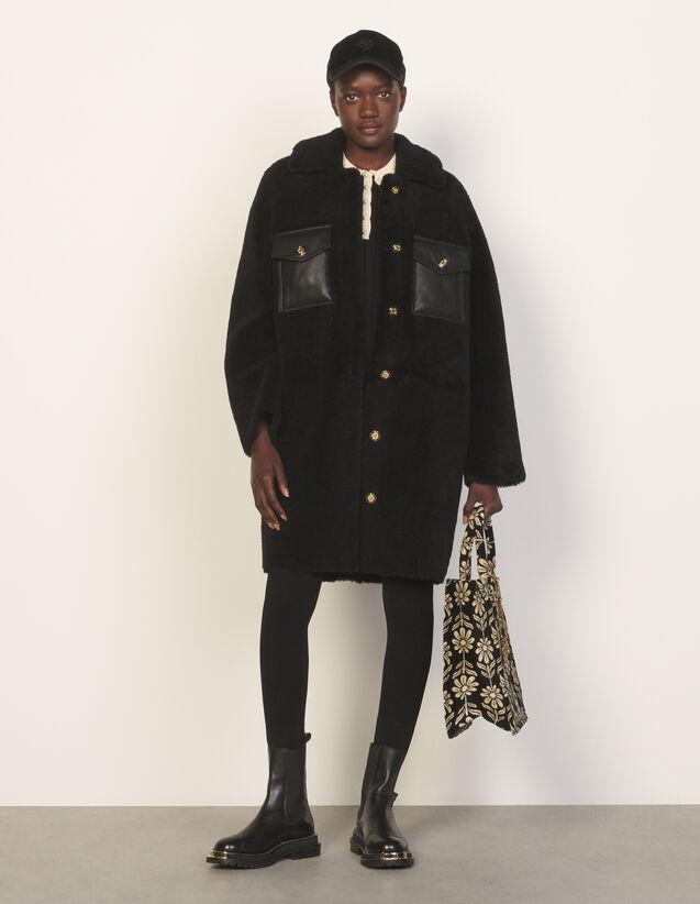 Sheepskin Coat : Coats color Black