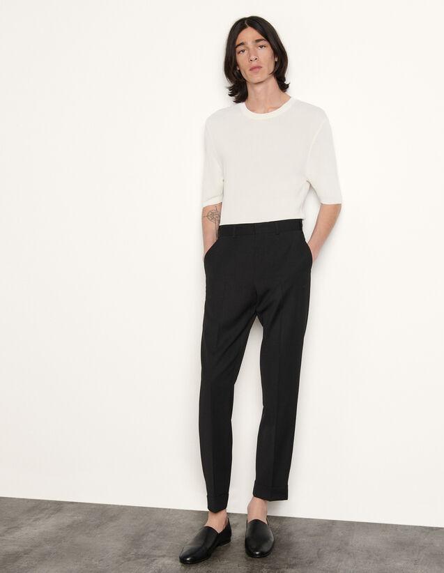 Virgin Wool Trousers : Pants & Shorts color Black
