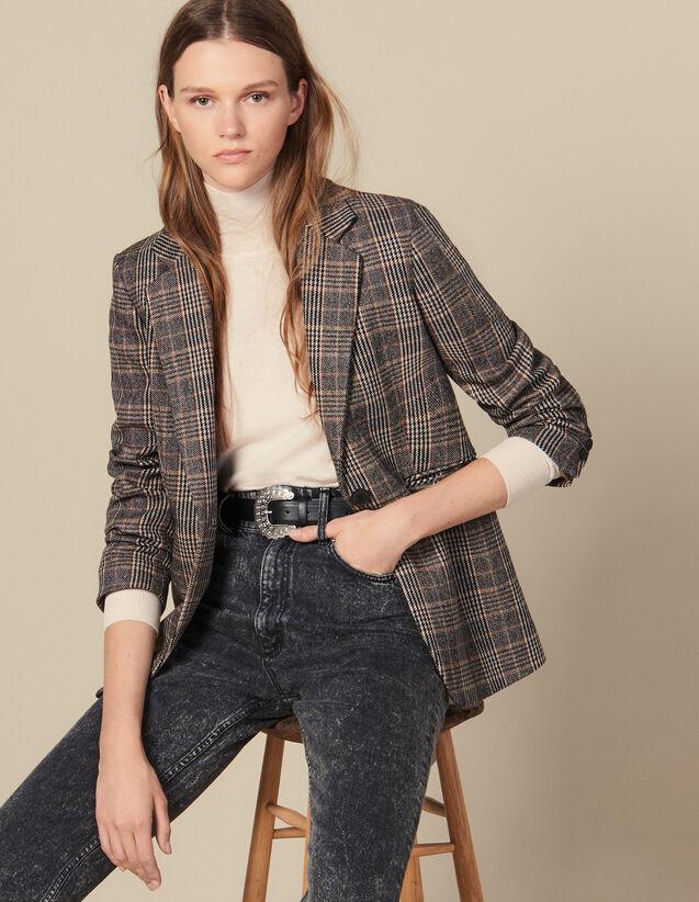 Checked Wool Blazer : Blazer & Jacket color Camel