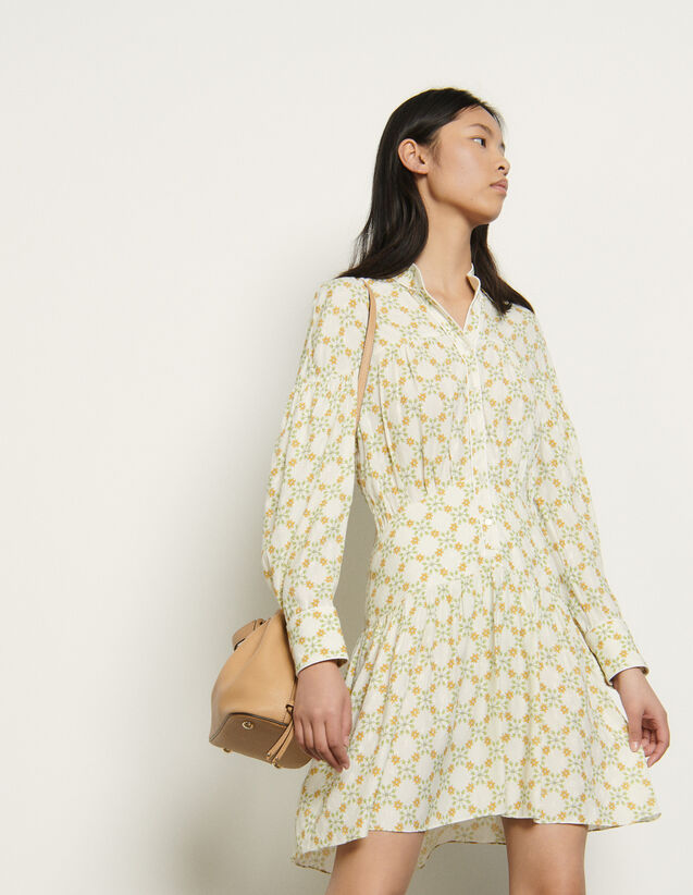 Short Dress In Printed Jacquard : Dresses color Ivory