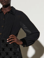 Short Dual-Material Dress : Dresses color Black