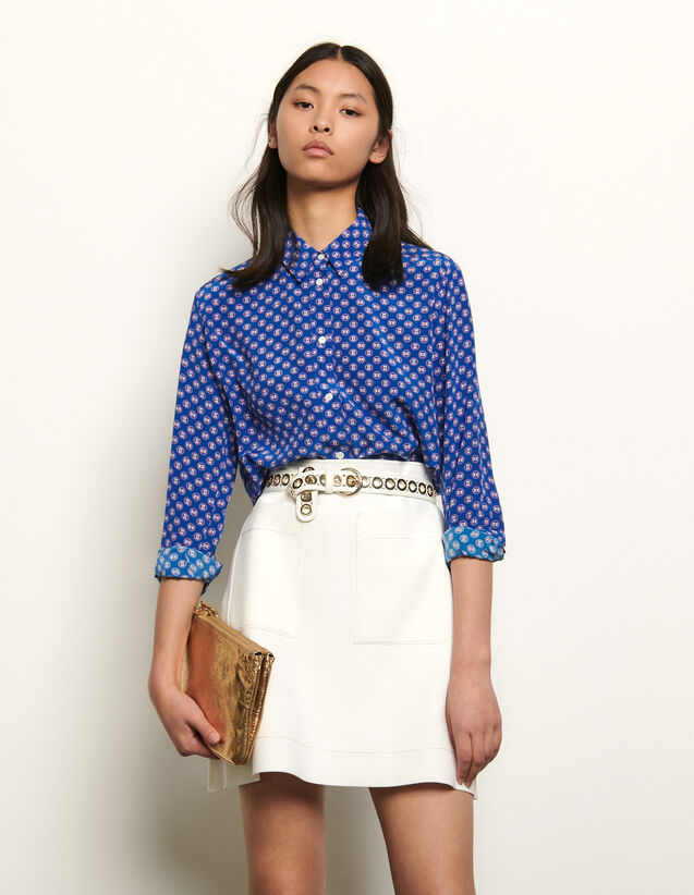 Printed Silk Shirt : NEW IN color Blue