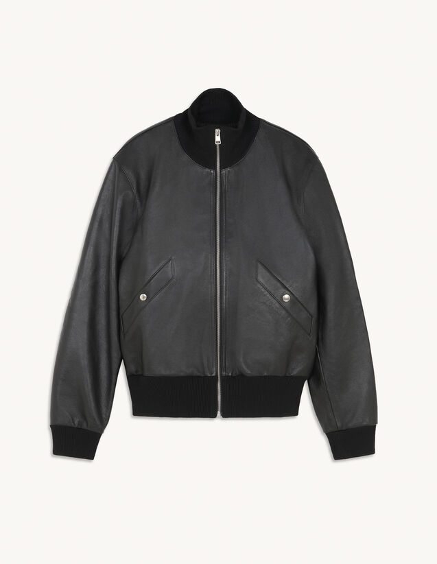 Leather Bomber : Trench coats & Coats color Black