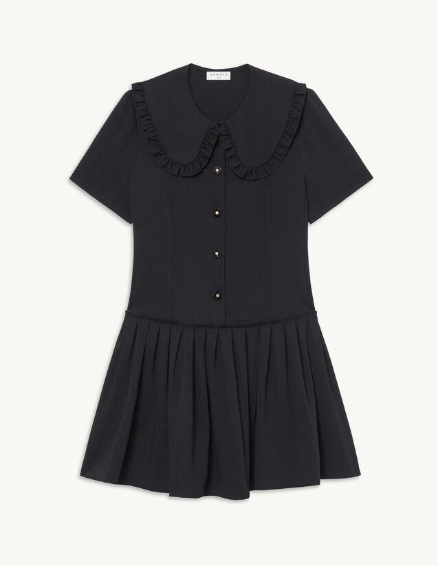 Short Dress With Large Peter Pan Collar : Dresses color Black