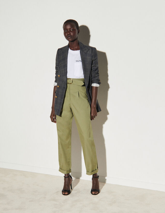 High-Waisted Wide-Leg Gabardine Trousers : Pants color Light kaki