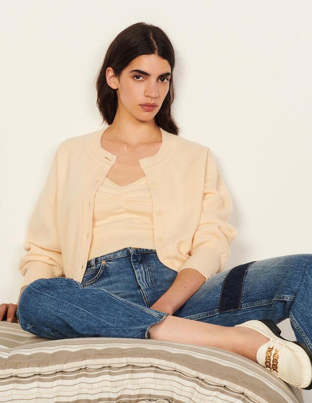 Woollen Twin-Set Cardigan : Sweaters & Cardigans color Vanilla