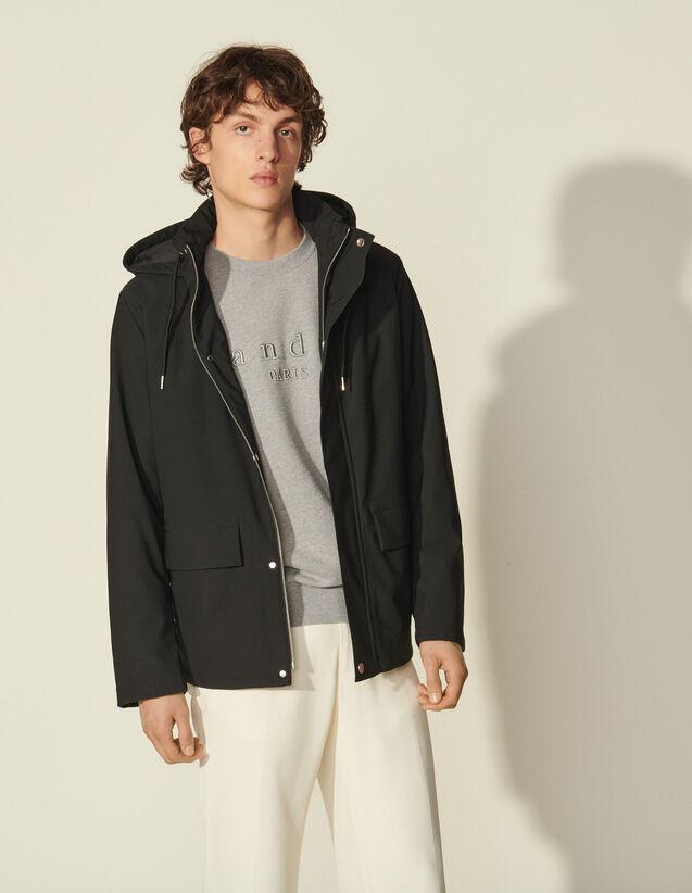 Hooded Parka : Coats & Jackets color Black