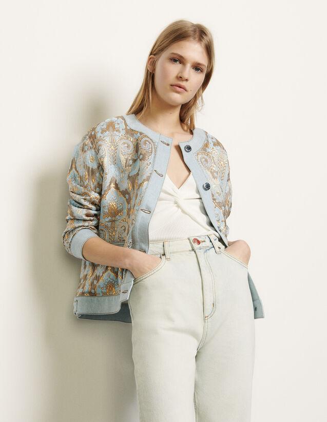 Brocade Jacket With Denim Inserts : Blazer & Jacket color Gold / Blue