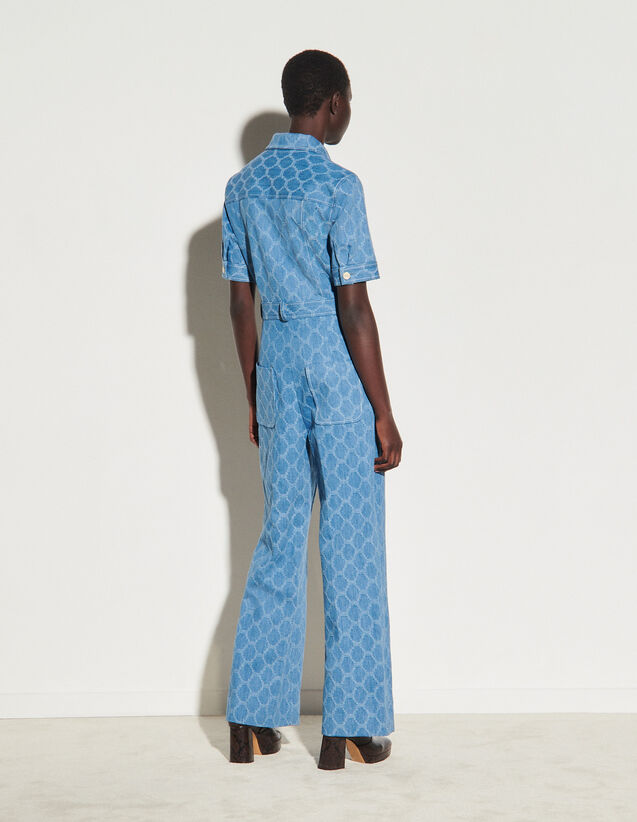 Jacquard Denim Jumpsuit : Jumpsuits color Blue Jean