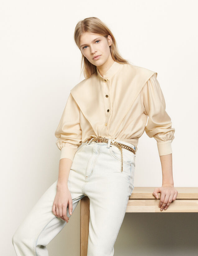 Short Shirt With Mandarin Collar : Shirts color Beige