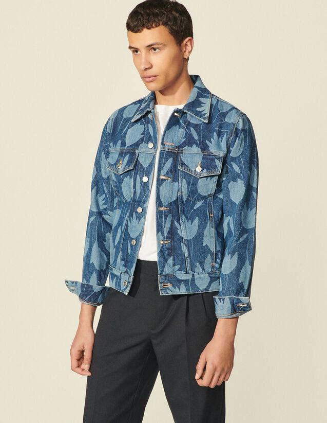 Printed Denim Jacket : Coats & Jackets color Blue Vintage - Denim