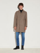 Houndstooth Wool Coat : Trench coats & Coats color Beige/blue/black