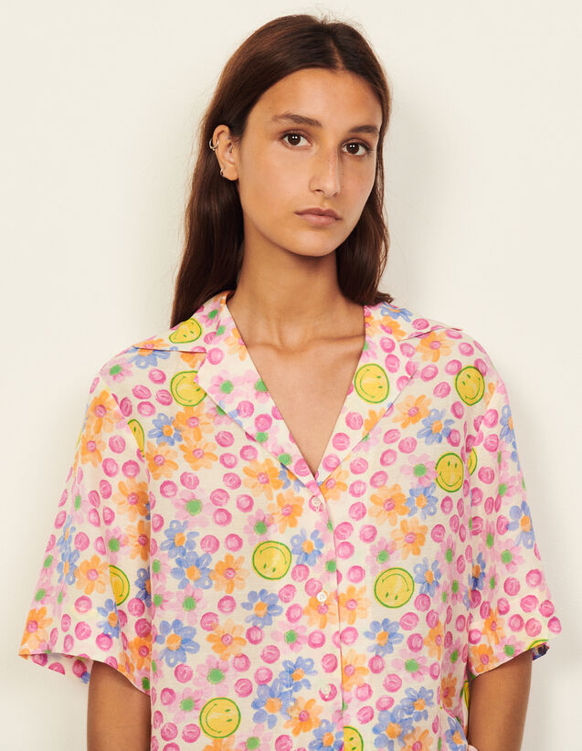 Smiley® Printed Flowing Shirt : Shirts color Pink