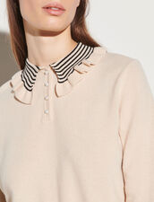 Wool Sweater With Fancy Collar : Sweaters & Cardigans color Light Beige