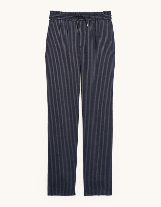 Striped Linen Trousers : Pants & Shorts color Navy Blue
