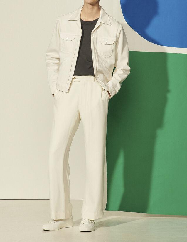 Denim Jacket : Coats & Jackets color white