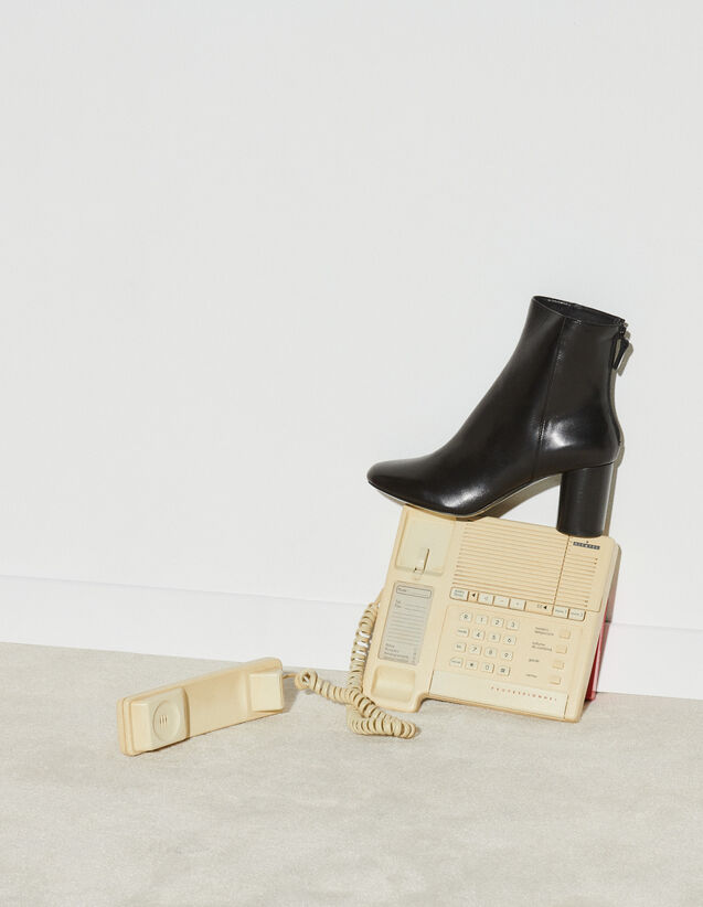 Leather Ankle Boot : Boots color Black