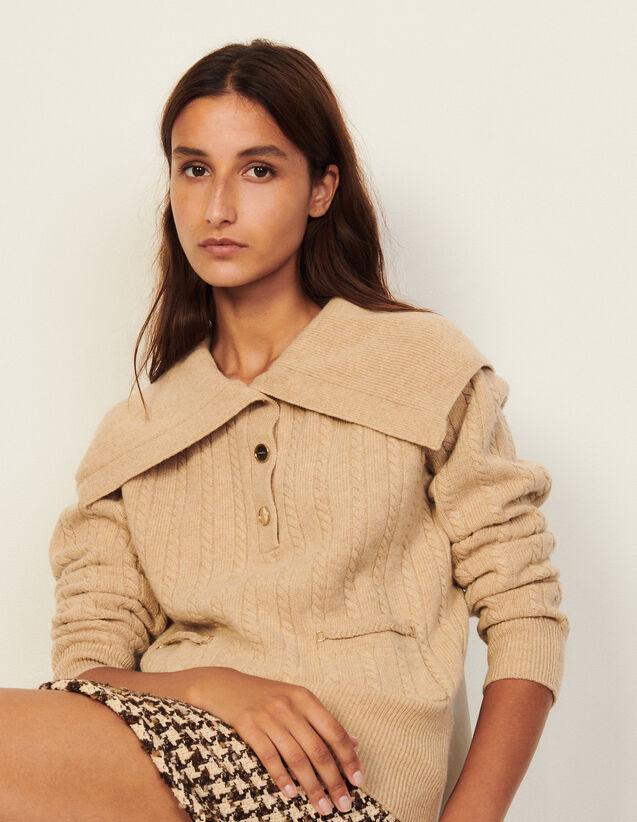 Open-Collar Wool Sweater : Sweaters & Cardigans color Beige