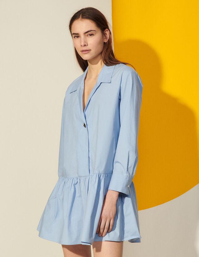 Cotton Shirt Dress : Dresses color Blue