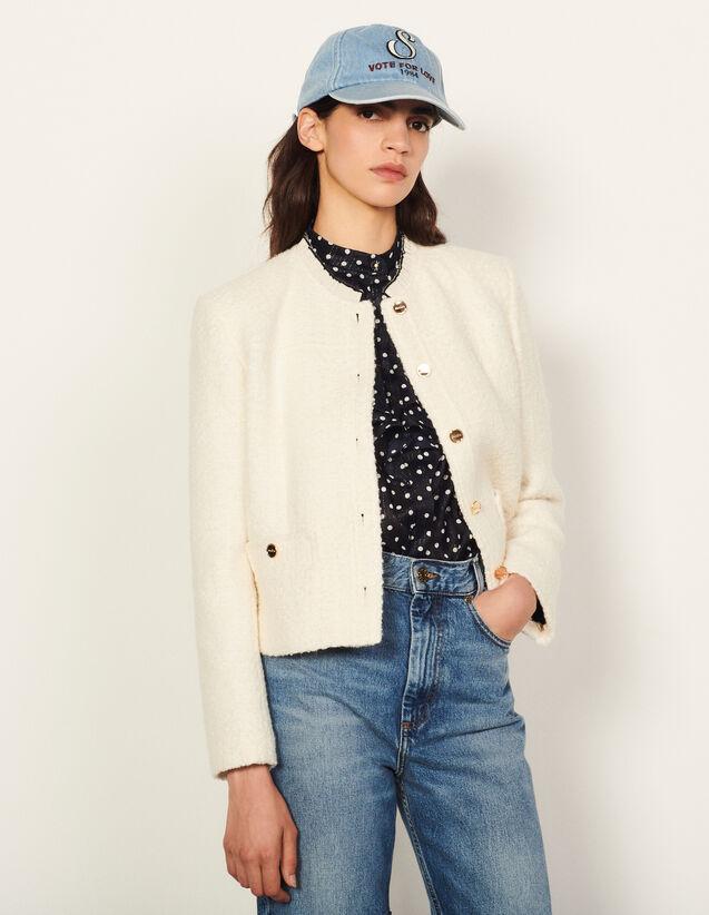 Jacket With Trim On The Collar : Blazer & Jacket color Ecru