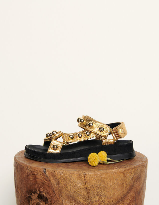 Flat Leather Sandals With Velcro : Shoes color Gold