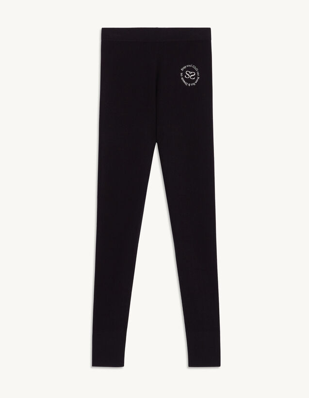 Knit Leggings With Embroidery : Pants color Navy Blue