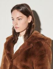 Short Faux Fur Coat : Coats color Brown