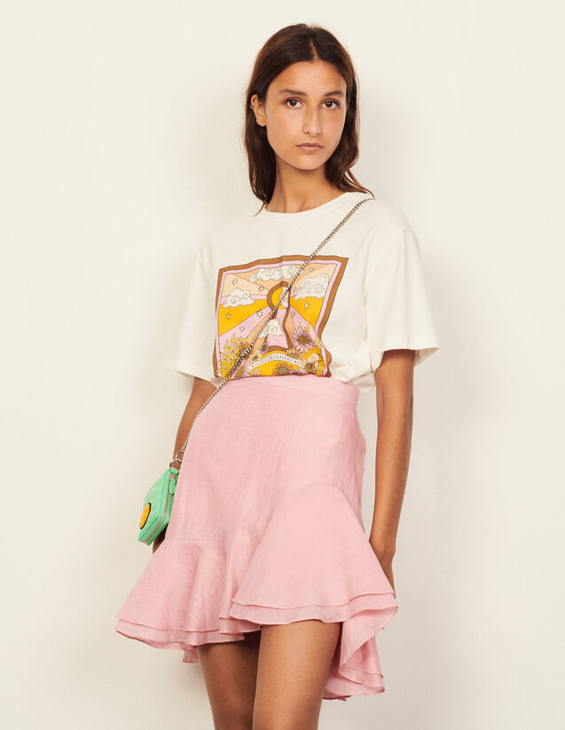 Short Asymmetric Skirt With Ruffles : Skirts & Shorts color Pink