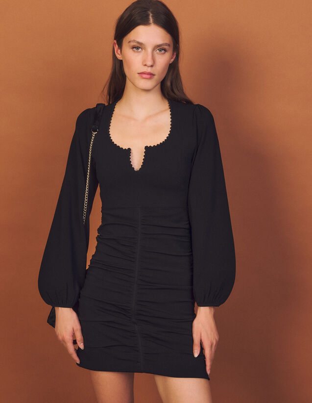 Knitted Dress With Ruching : Dresses color Black