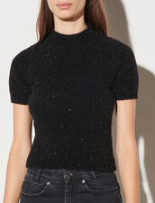 Fancy Knit Cropped Sweater : Sweaters & Cardigans color Black
