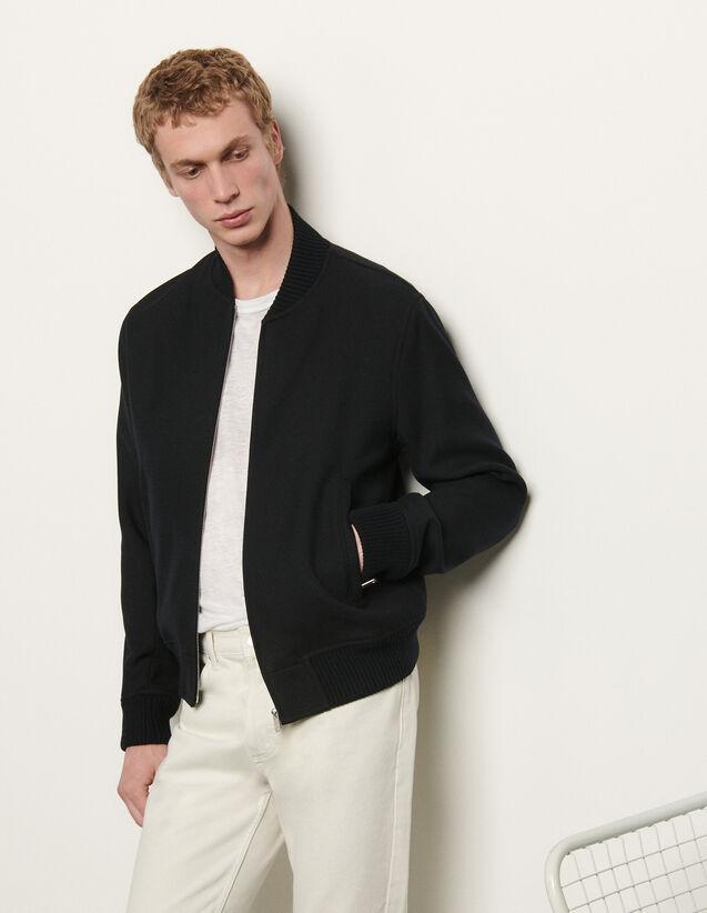 Zipped Bomber Jacket : Trench coats & Coats color Navy Blue