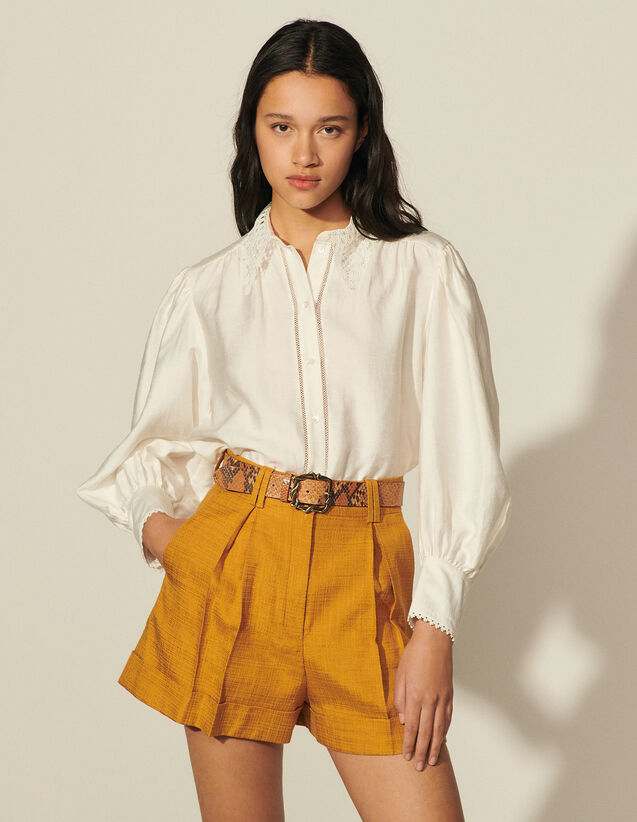 Shorts With Pressed Pleats : Ceremony Selection color Ochre