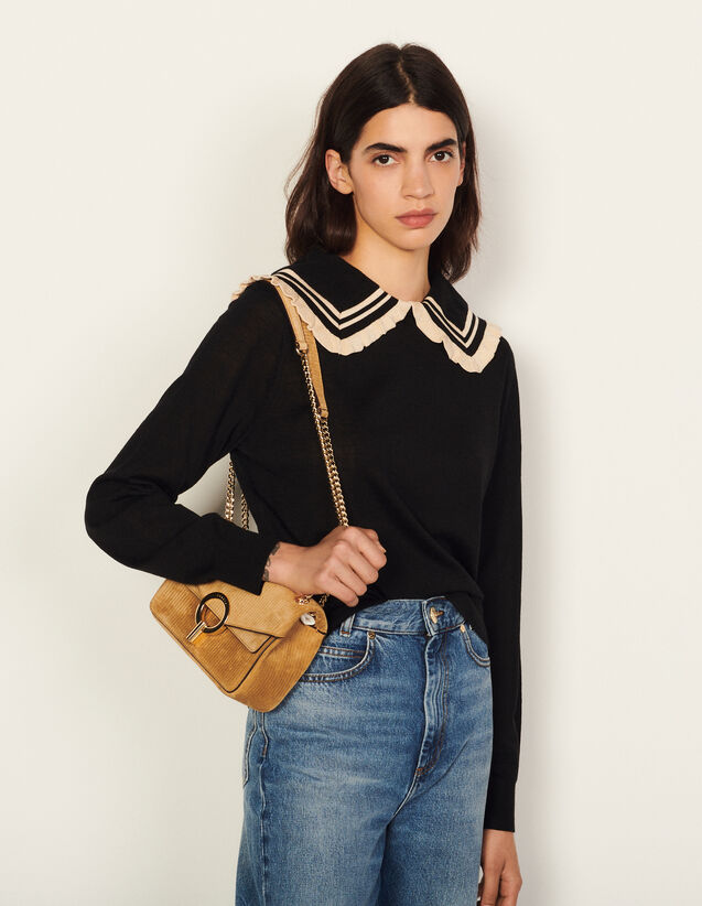 Sweater With Stripy Ruffled Collar : Sweaters & Cardigans color Black