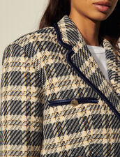 Cropped Jacket In Checked Tweed : Blazer & Jacket color Navy / Taupe