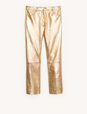 Metallic Leather Trousers : Pants color Gold