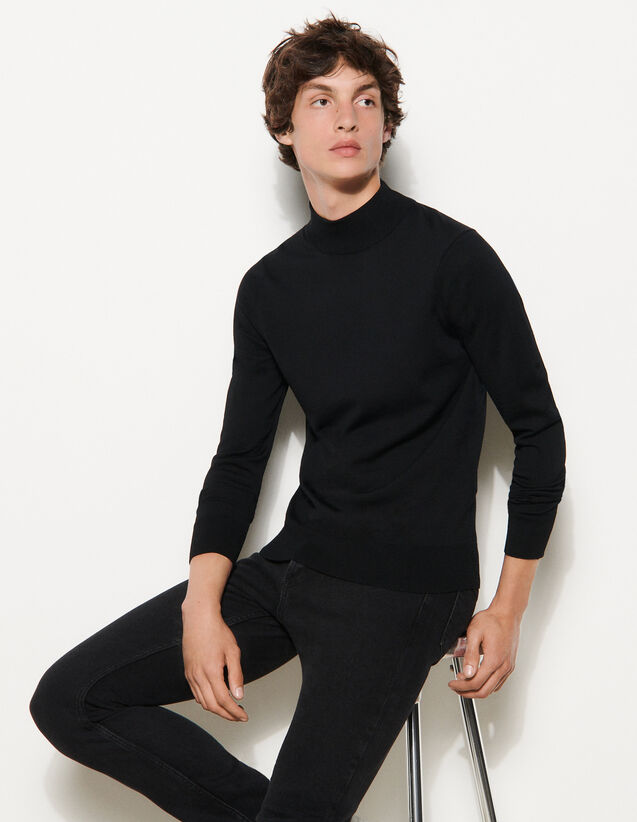 Funnel Neck Sweater : Sweaters & Cardigans color Navy Blue
