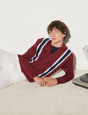 Cardigan With Contrasting Stripes : Sweaters & Cardigans color Bordeaux