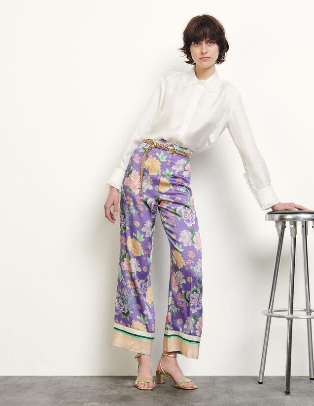 Wide-Leg Printed Trousers : Pants color Purple
