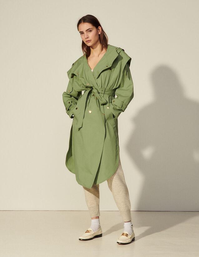 Long Coat With Hood : Coats color Light green