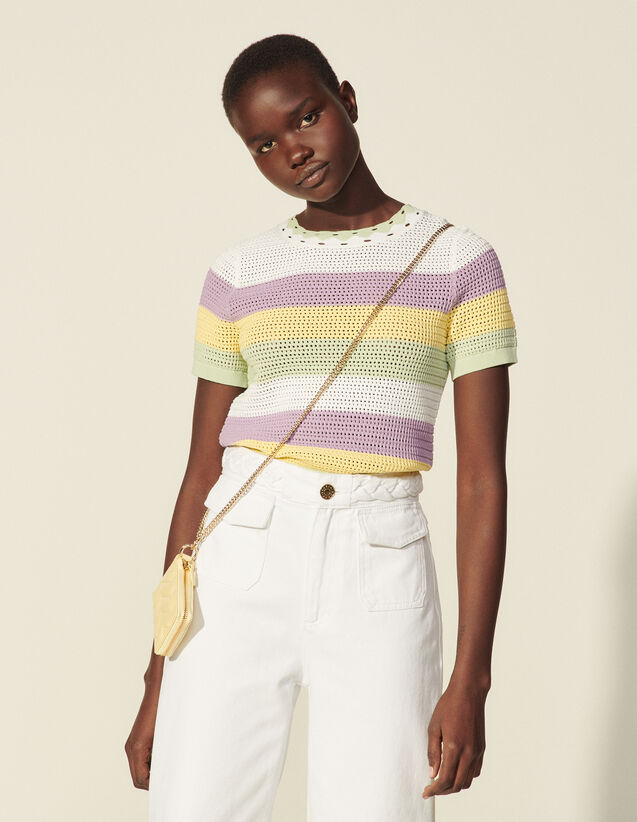 Stripy Short-Sleeved Sweater : Sweaters & Cardigans color Multi-Color