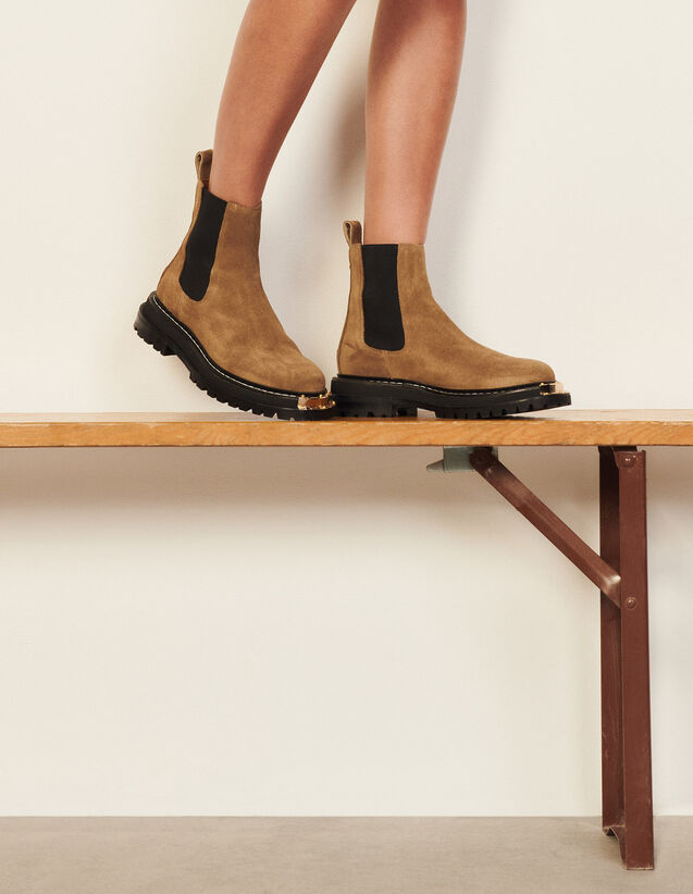 Elasticated Leather Chelsea Ankle Boots : Boots color Olive Green